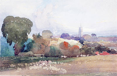Painting -  Landscape With Church Steeple by James Bulwer