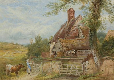 Cow Drawing - Landscape With Cottage, Girl And Cow by Myles Birket Foster