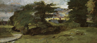 Landscape With River Painting - Landscape With Cottages by John Constable