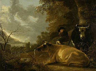 Landscape With Cows And Young Herdsman Print by Aelbert Cuyp