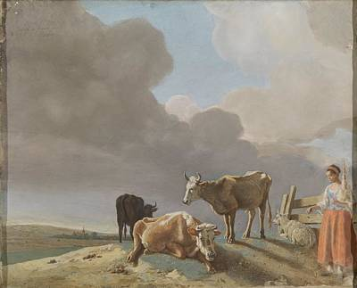 The Shepherdess Painting - Landscape With Cows, Sheep And Shepherdess, Altered Copy Of A Painting By Paulus Potter, The Shepher by Celestial Images