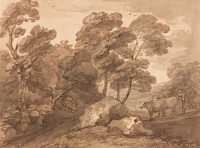 Landscape With Cows Art Print by Thomas Gainsborough