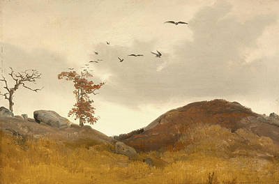 Crows Painting - Landscape With Crows  by Carl Friedrich Lessing
