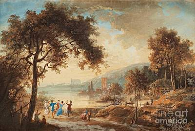Landscape With Dancing Figures Art Print by Celestial Images