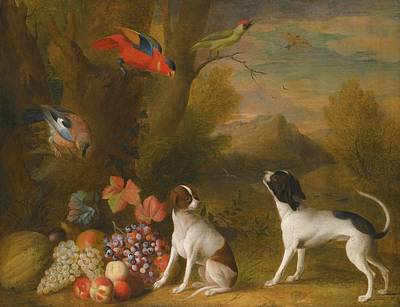 Painting - Landscape With Exotic Birds And Two Dogs by Jakob Bogdany