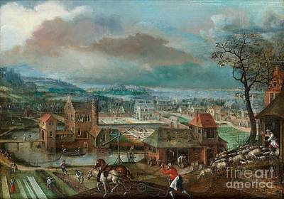 Landscape With Figures Art Print by MotionAge Designs