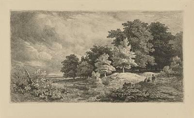 Caravaggio - Landscape with figures on a forest path, Remigius Adrianus Haanen, 1849 by Remigius Adrianus Haanen