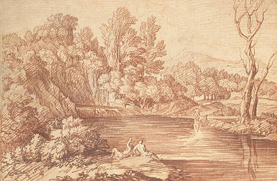 Photograph - Landscape With Figures On The Bank Of A River by Gaspard Dughet