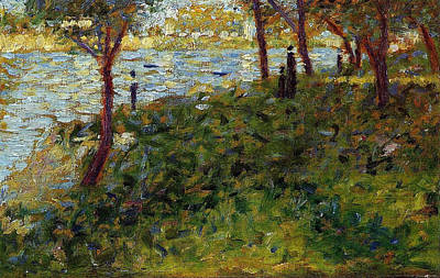 Riverside Painting - Landscape With Figures, Study For A Sunday On La Grande Jatte by Georges Seurat