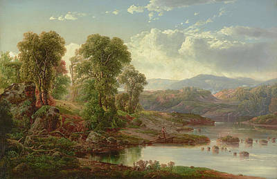 Landscape With River Painting - Landscape With Fisherman by William Louis Sonntag