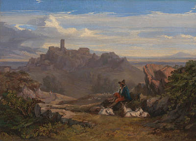 Painting - Landscape With Goatherd by Edward Lear