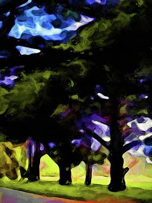 Digital Art - Landscape With Green Trees In A Row by Jackie VanO