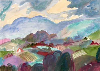 Landscape With Hills And Farms  Art Print