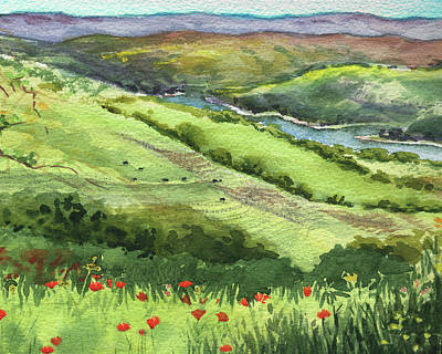 Painting - Landscape With Hills Creek And Flowers Watercolor by Irina Sztukowski