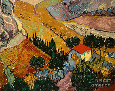 Red Roof Painting - Landscape With House And Ploughman by Vincent Van Gogh