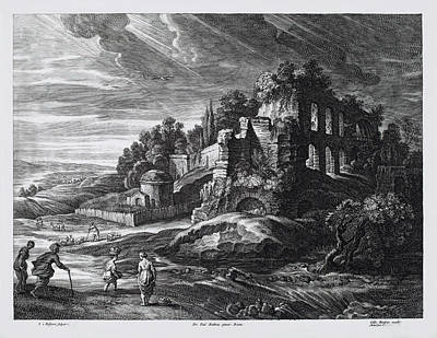 Drawing - Landscape With Large Roman Ruins by Schelte Adams Bolswert