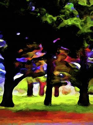 Digital Art - Landscape With Leaning Trees by Jackie VanO