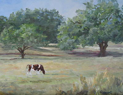 Landscape With Longhorn Art Print