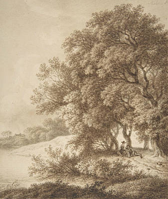 Landscape Drawing - Landscape With Lovers by Ferdinand Kobell