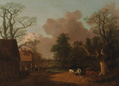 Landscape With Milkmaid Art Print by Thomas Gainsborough