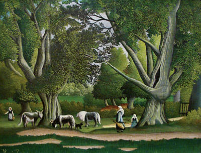 Animal Painting - Landscape With Milkmaids by Henri Rousseau