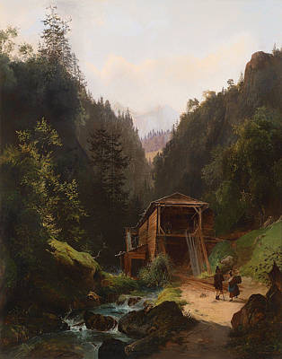 Old Mills Painting - Landscape With Mill by Mountain Dreams