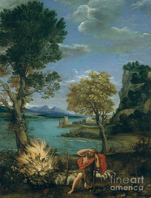 Burning Bush Painting - Landscape With Moses And The Burning Bush by Celestial Images