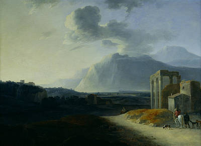 Italian Evening Painting - Landscape With Mount Stromboli by Willem Schellinks