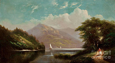 19th Century Painting - Landscape With Mountain Lake And Figures by Celestial Images