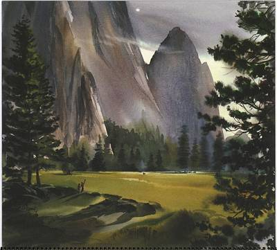 Landscape With Mountains And Evergreen Art Print