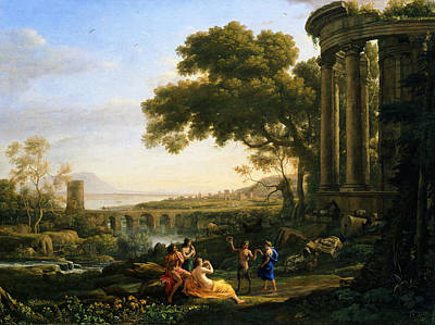 Satyr Painting - Landscape With Nymph And Satyr Dancing by Claude Lorrain