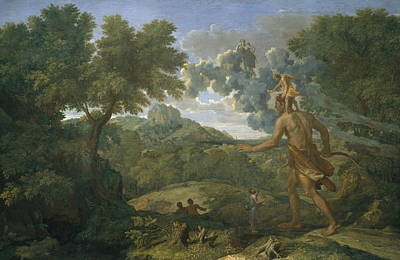 Painting - Landscape With Orion Or Blind Orion Searching For The Rising Sun by Nicolas Poussin