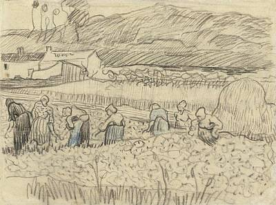 1890 Houses Painting - Landscape With Peasant Women Harvesting by Vincent van Gogh