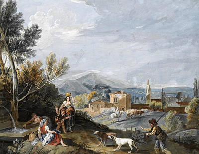 Drawing - Landscape With Peasants By A Roadside Fountain by Antonio Zucchi