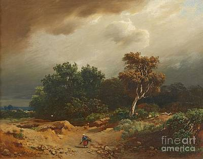 Trees Painting - Landscape With Peasants Collecting Firewood by MotionAge Designs