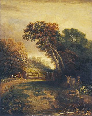 Landscape With Picnickers And Donkeys By A Gate Art Print