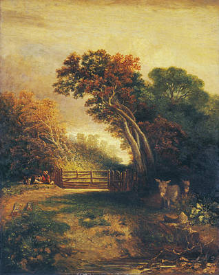 Painting - Landscape With Picnickers And Donkeys By A Gate by Joseph Paul