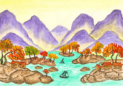 Painting - Landscape With Purple Hills On Yellow by Irina Afonskaya