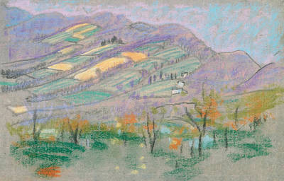 Drawing - Landscape With Purple Mountains  by Arthur Bowen Davies