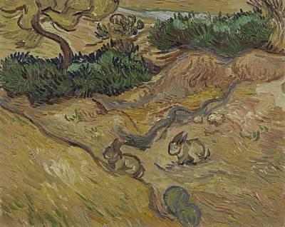 Painting - Landscape With Rabbits Saint Remy De Provence December 1889 Vincent Van Gogh 1853  1890 by Artistic Panda