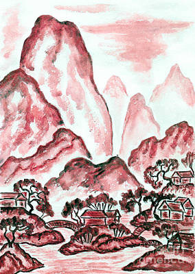 Painting - Landscape With Red Mountains, Painting by Irina Afonskaya