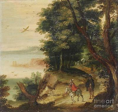 Flemish School Painting - Landscape With Riders by MotionAge Designs