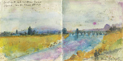 Painting - landscape with river and bridge after William Turner by Martin Stankewitz
