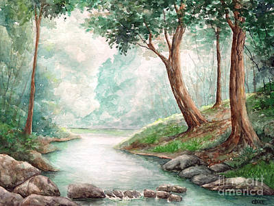 Landscape With River Art Print by Enaile D Siffert