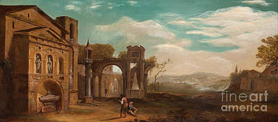 Figure Painting - Landscape With Ruins And Figures by Celestial Images