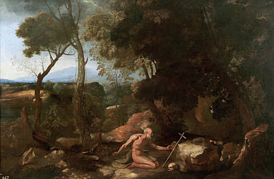 Poussin Painting - Landscape With Saint Paul The Hermit by Nicolas Poussin