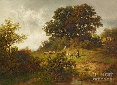 Modern Feathers Art - Landscape with Shepherds by MotionAge Designs