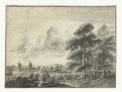 Olympic Sports - Landscape with small bridge, Gilles Neyts, 1643 - 1679 by Gilles Neyts