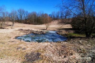 Dry Lake Mixed Media - Landscape With Small Lake by Milan Muzik