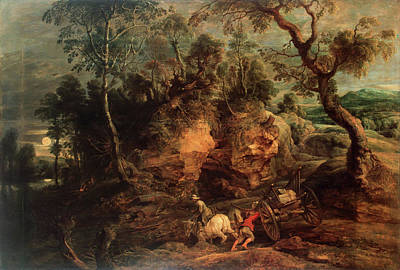Pastoral Painting - Landscape With Stone Carriers by Peter Paul Rubens